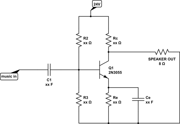 Collector current for common-emitter audio amplifier