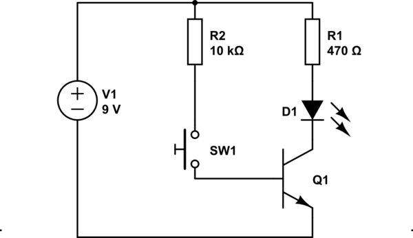 Single LED single transistor circuit not working