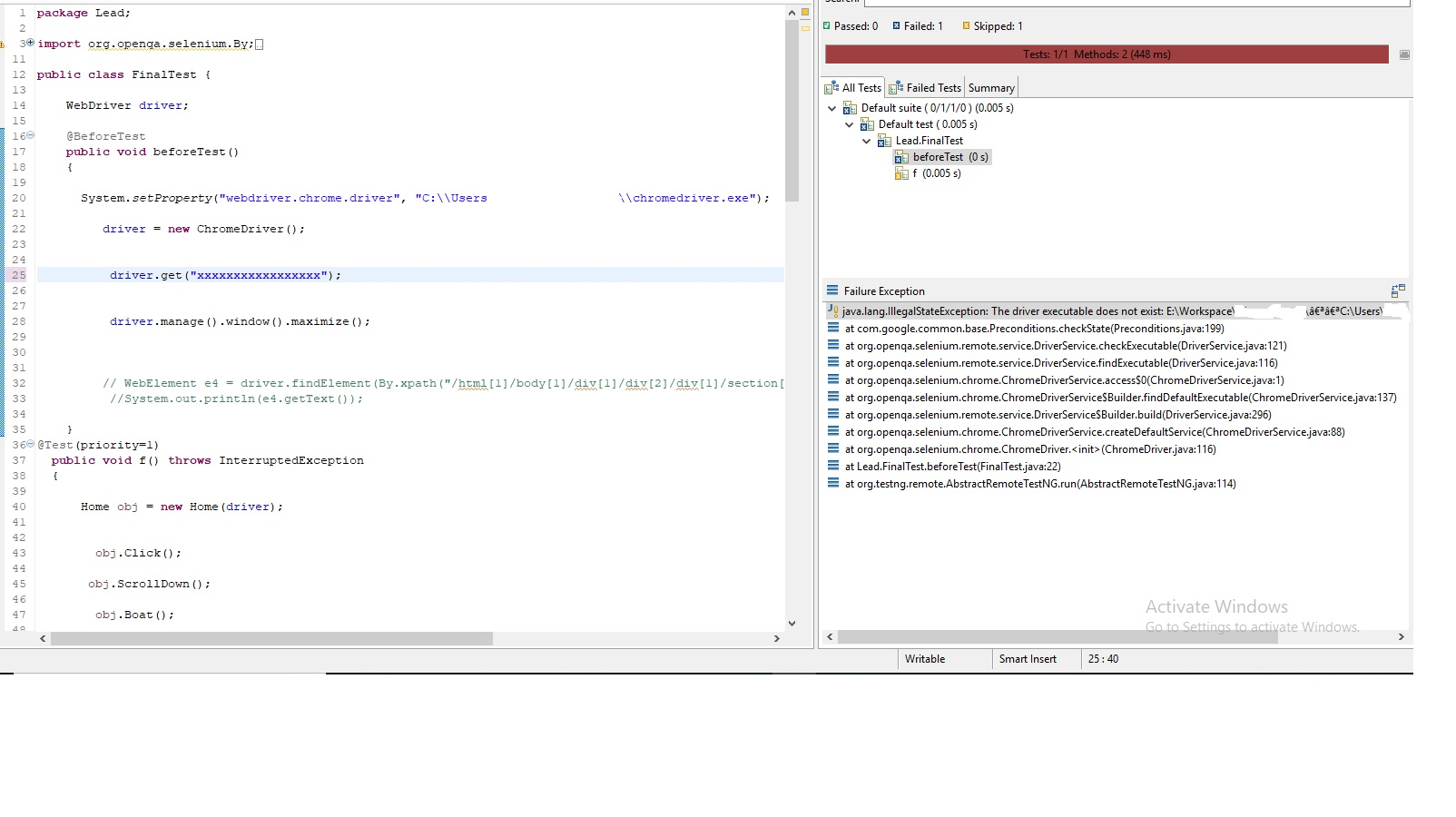 java.lang.IllegalStateException: The driver executable