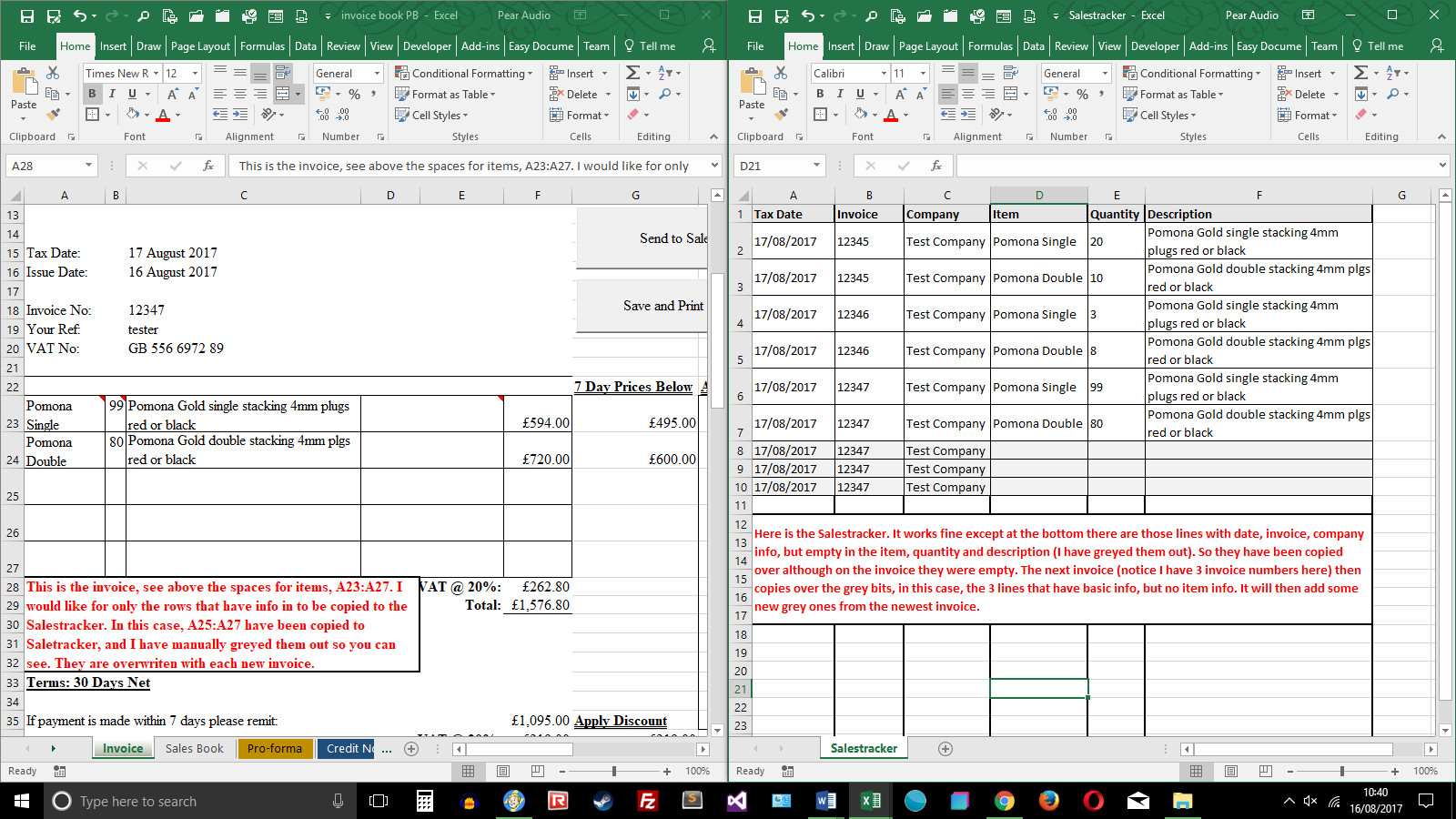 Excel Vba Modify Code So Data Transferred From Invoice