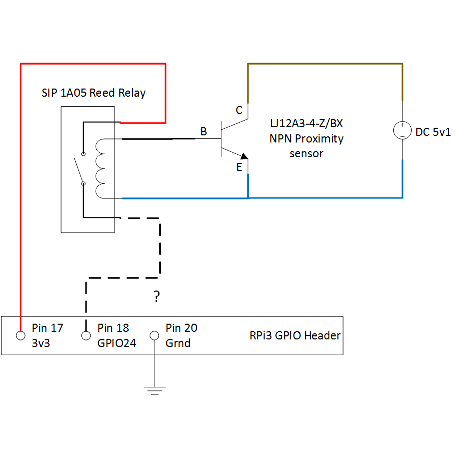medium resolution of connecting npn proximity sensor to rpi3 using reed relay