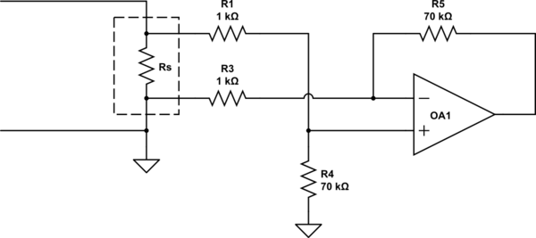 Amplify shunt resistor voltage to an arduino using an op