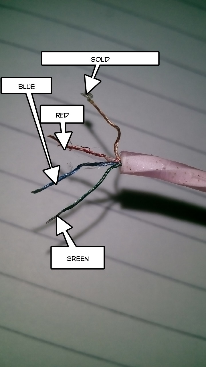 hight resolution of which color should be soldered to which connector for an earphone jack closed