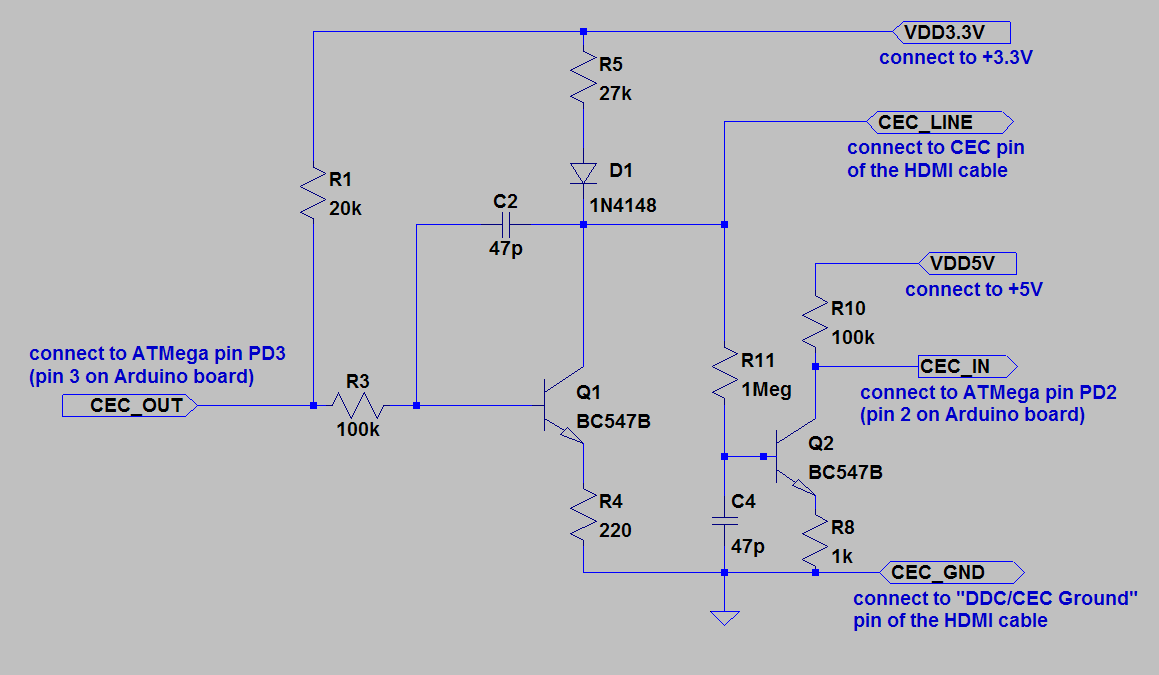 11 Pin Relay Schematic Diagram Connect An Atmega Microcontroller To The Hdmi Cec Bus