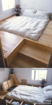 furniture - Raised platform around bed with built-in ...