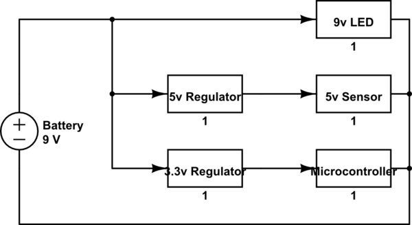 9v Power For Digitial Circuit -- Parallel