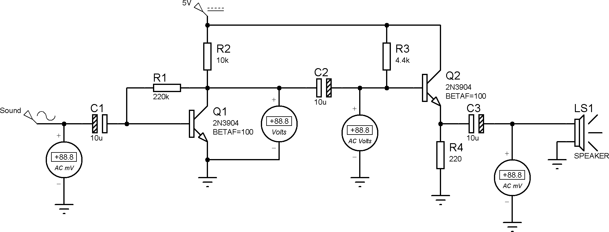 Electret microphone amplifier for computer using