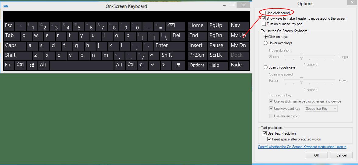 How do I silence onscreen Windows 8