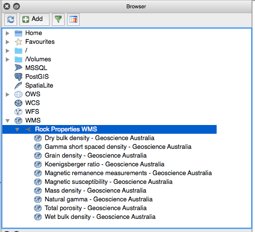 QGIS Browser with WMS Layers