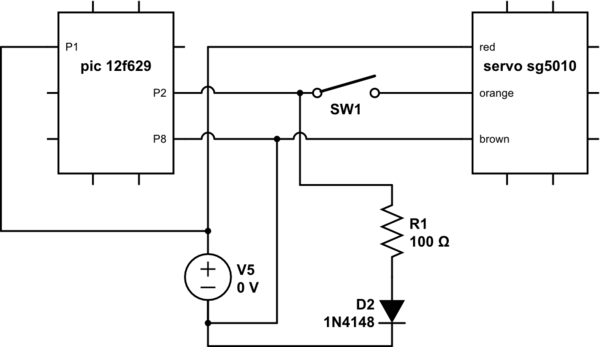 Servo doesn't move when driven by a PIC micro controller