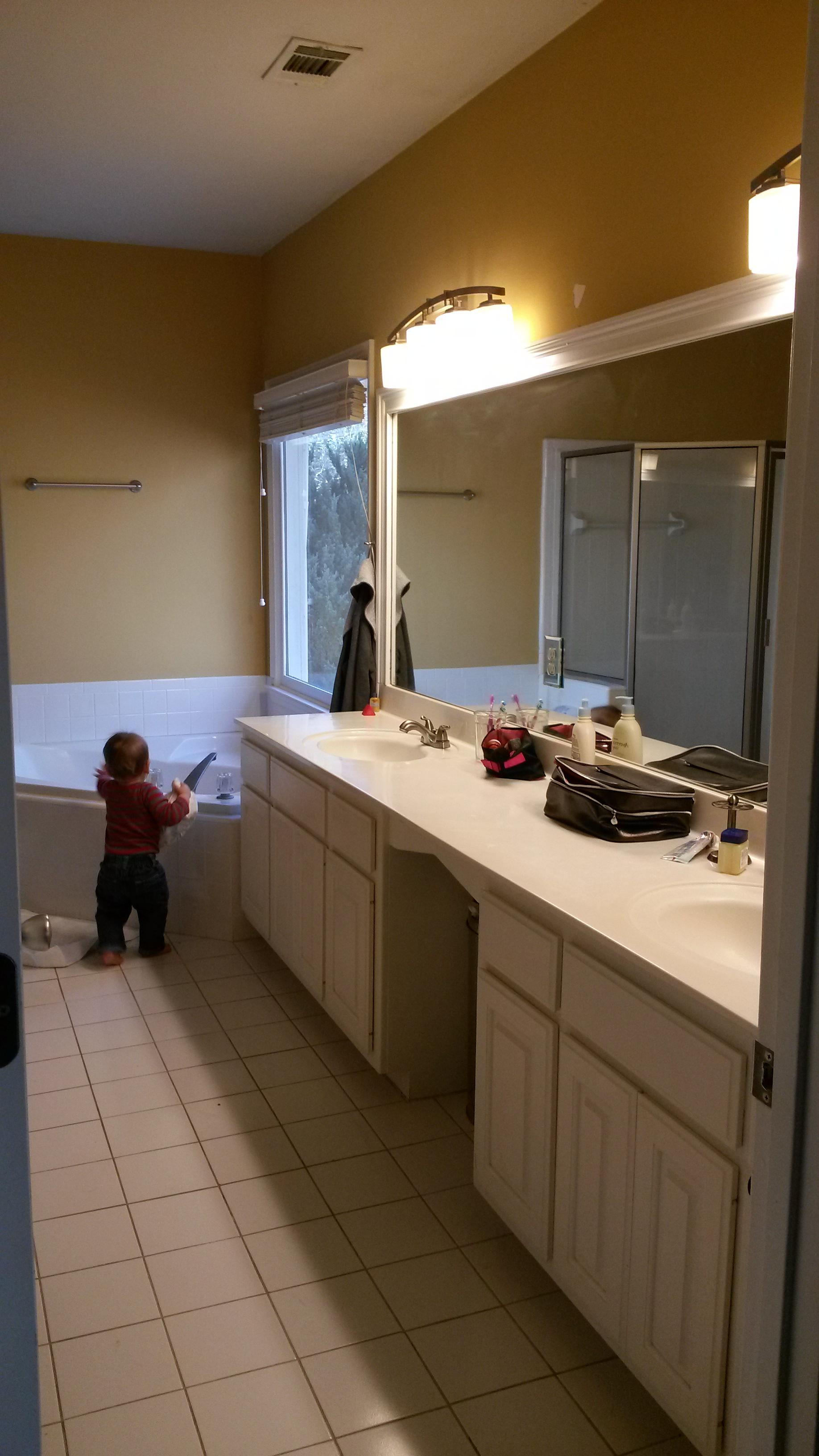bathroom  How can I replace a long double vanity with two