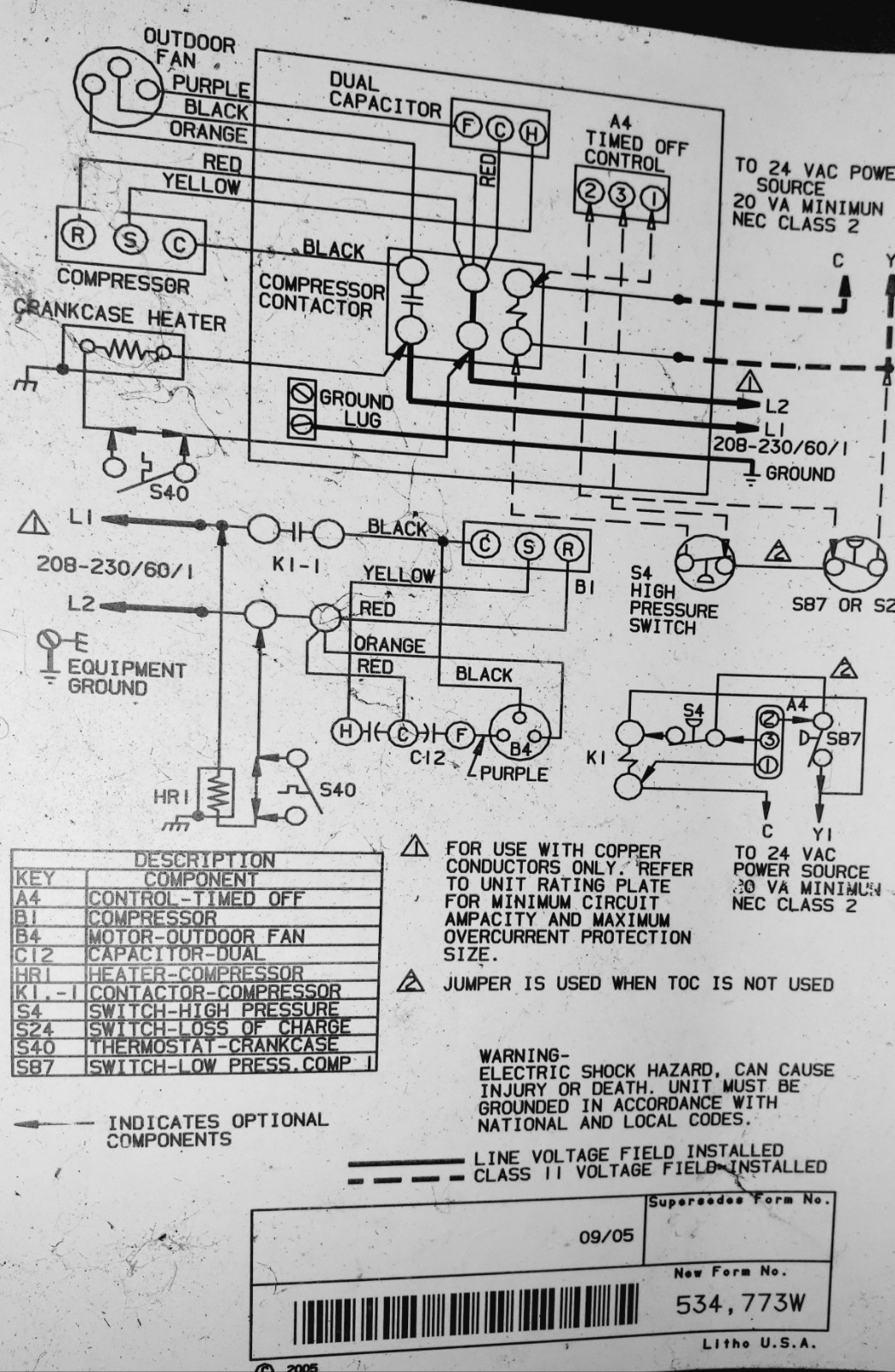 hight resolution of wiring diagram from inside the unit ref c12 air conditioning compressor capacitor resistance