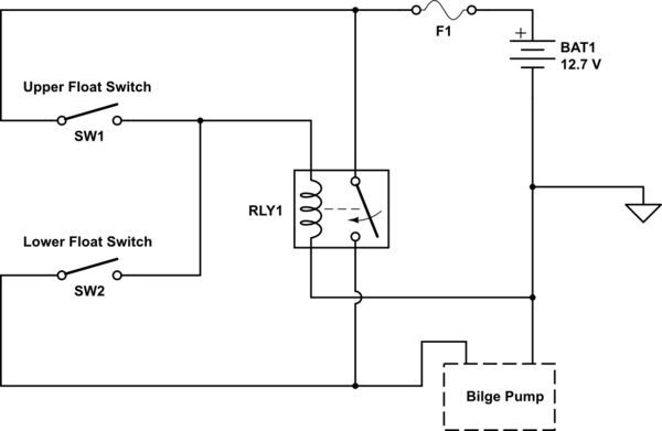 Relay Dual Float Switches For A Boat's Bilge Pump Electrical