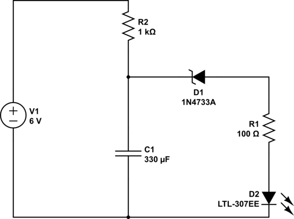 Create a blinking LED circuit with a z-diode and a