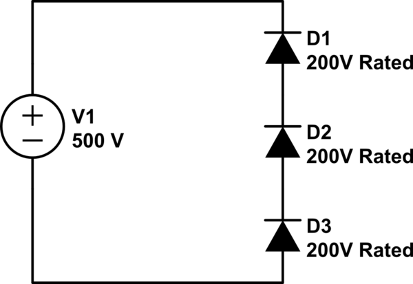 Do serially connected diodes share equal reverse voltage