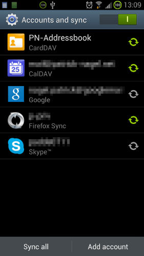 google account  How can I select the apps to sync when