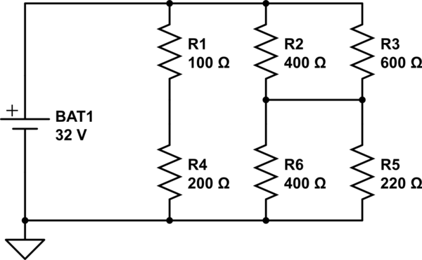 Working out current, voltage and resistance in a Bridge
