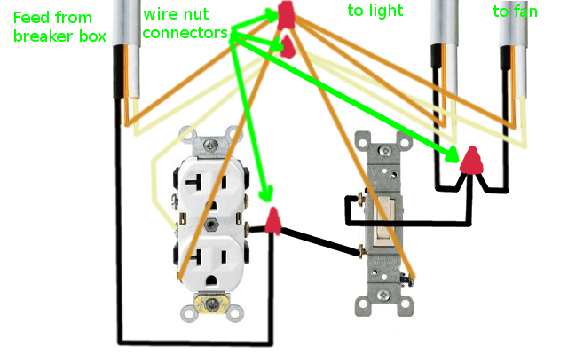 double outlet wiring diagram automotive diagrams software electrical how can i rewire my bathroom fan light and receptacle enter image description here