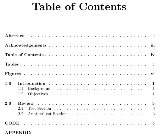 Table Of Contents With Roman Arabic And No Page Numbers