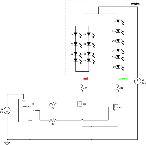 Connecting a Red/Green LED Cluster to an Arduino