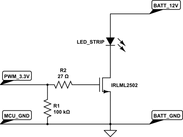 led strip light wiring diagram schwinn s180 electric scooter mosfet driving from microcontroller electrical schematic the