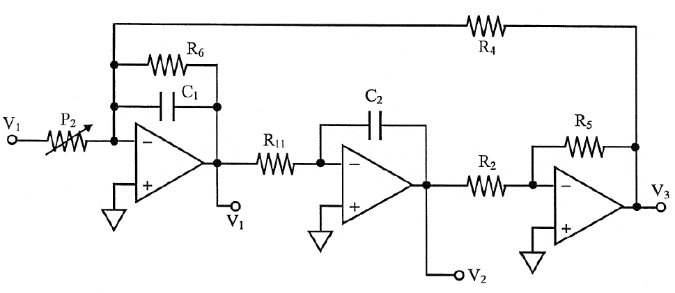 Amplifier Signal Flow Diagram For A Biquadratic Section