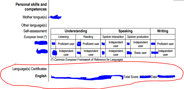 cv english language levels