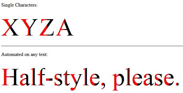 Half Style on text