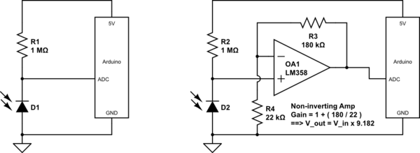 circuit diagram of non inverting amplifier inverter wiring for house arduino - how to use sfh235 ir photodiode correctly? electrical engineering stack exchange