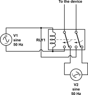 mains  Using a relay to switch between 230VAC inputs