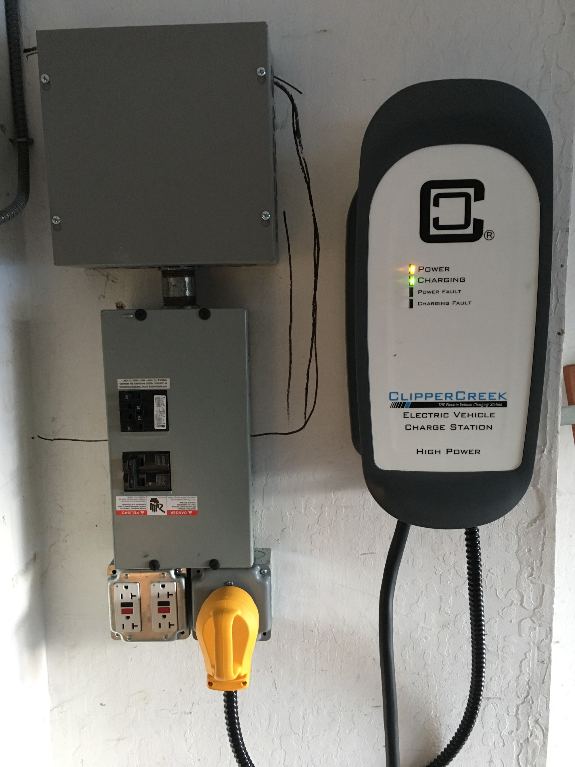 hight resolution of overview of garage sub panel with tapping junction box