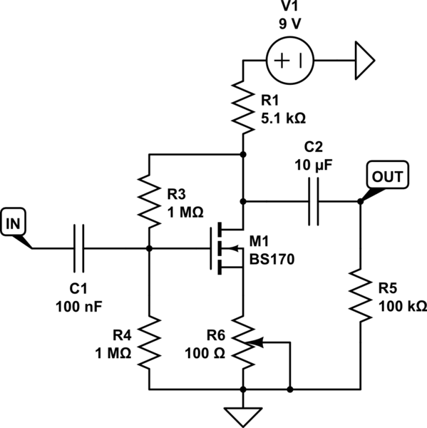mosfet open circuit resistance in common gate amplifier electrical