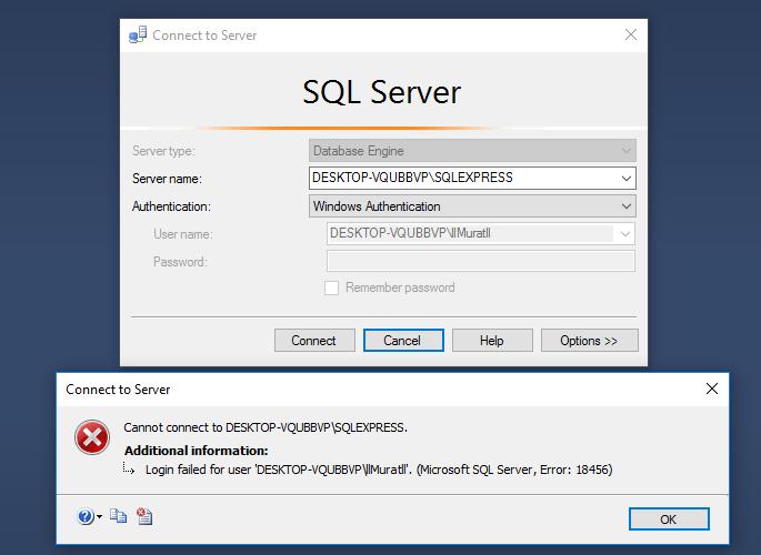 connection  Microsoft SQL Server Error 18456  Stack