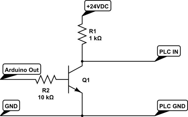 Låte Arduino styra ingång på plc med transistor. • Allmän
