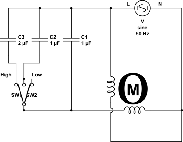 schematic circuit diagram of ceiling fan and regulator connection
