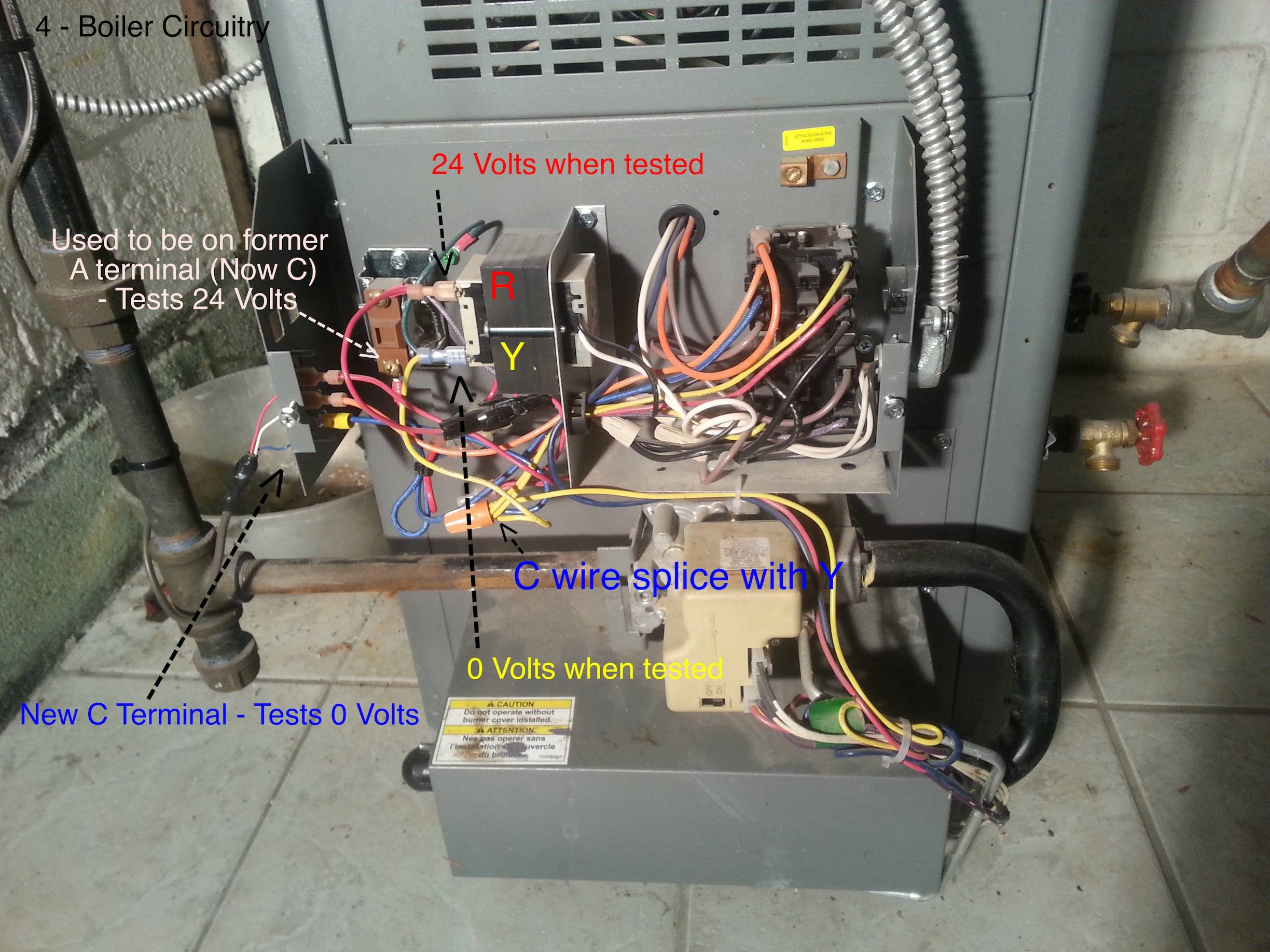 hvac transformer wiring diagram thermistor boiler - where do i connect my c wire from thermostat when there are two transformers? home ...