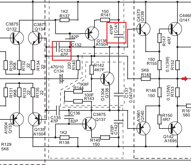 High Frequency Capacitors in Differential Amplifier