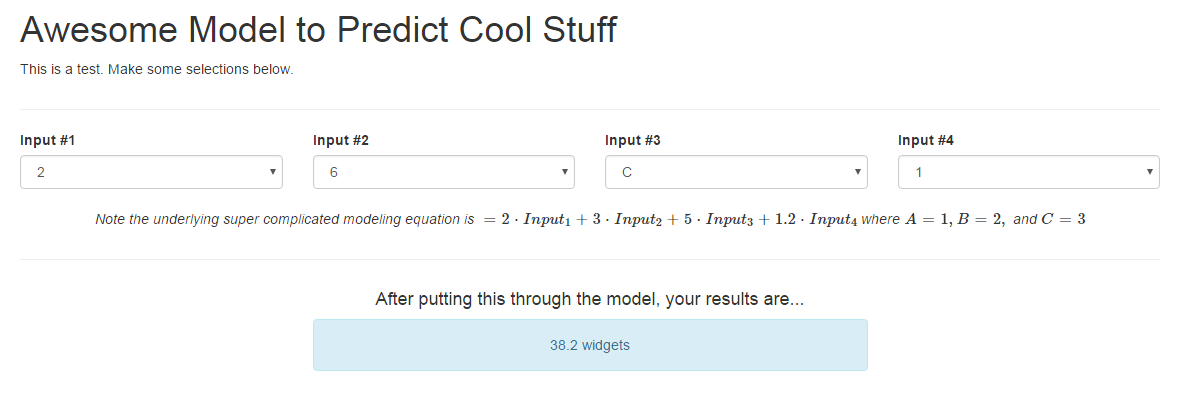 beginner - Driving equation output from select input boxes via JavaScript and HTML - Code Review Stack Exchange