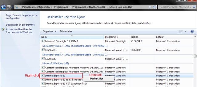 Step 5 - Uninstall Internet Explorer 11