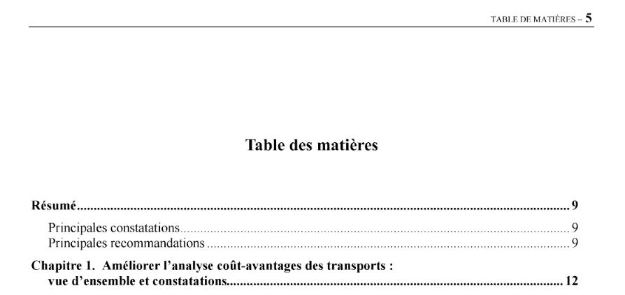 table de matieres vs table des