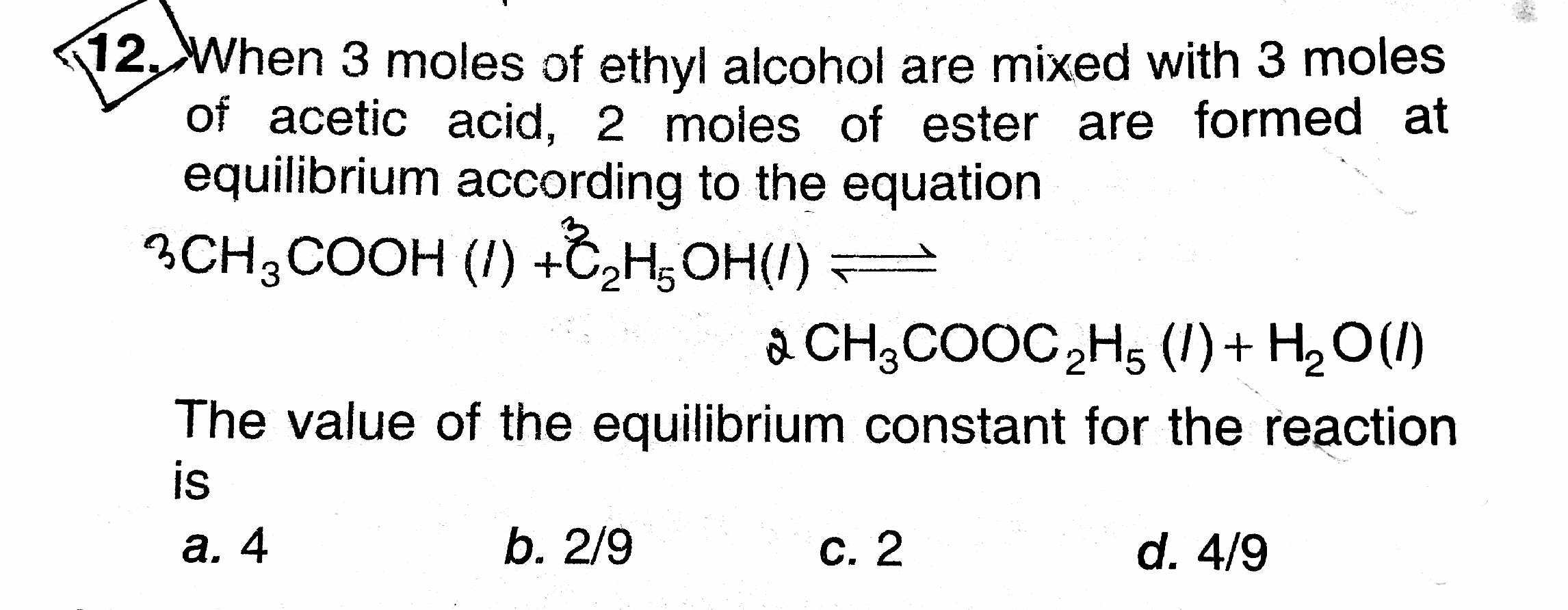 Why Is Water Taken In Calculating K Equilibrium Constant
