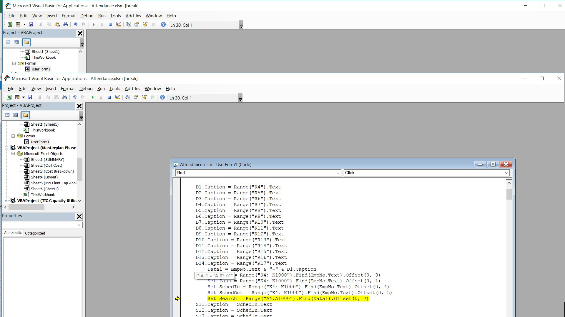 Vba Error When Using Find On A Concatenated String