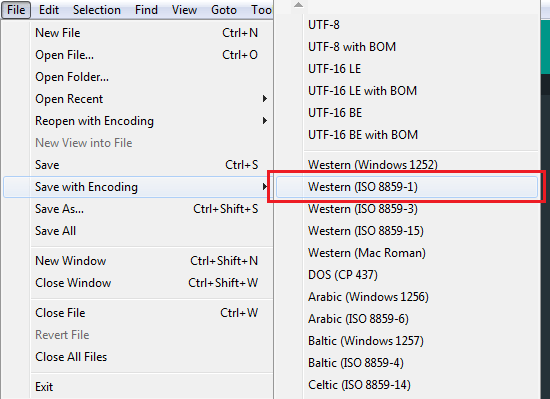 salvando documento em iso-8859-1 ou windows 1252