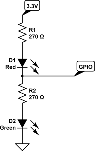 Designing a circuit with a bi-colored LED for indicating