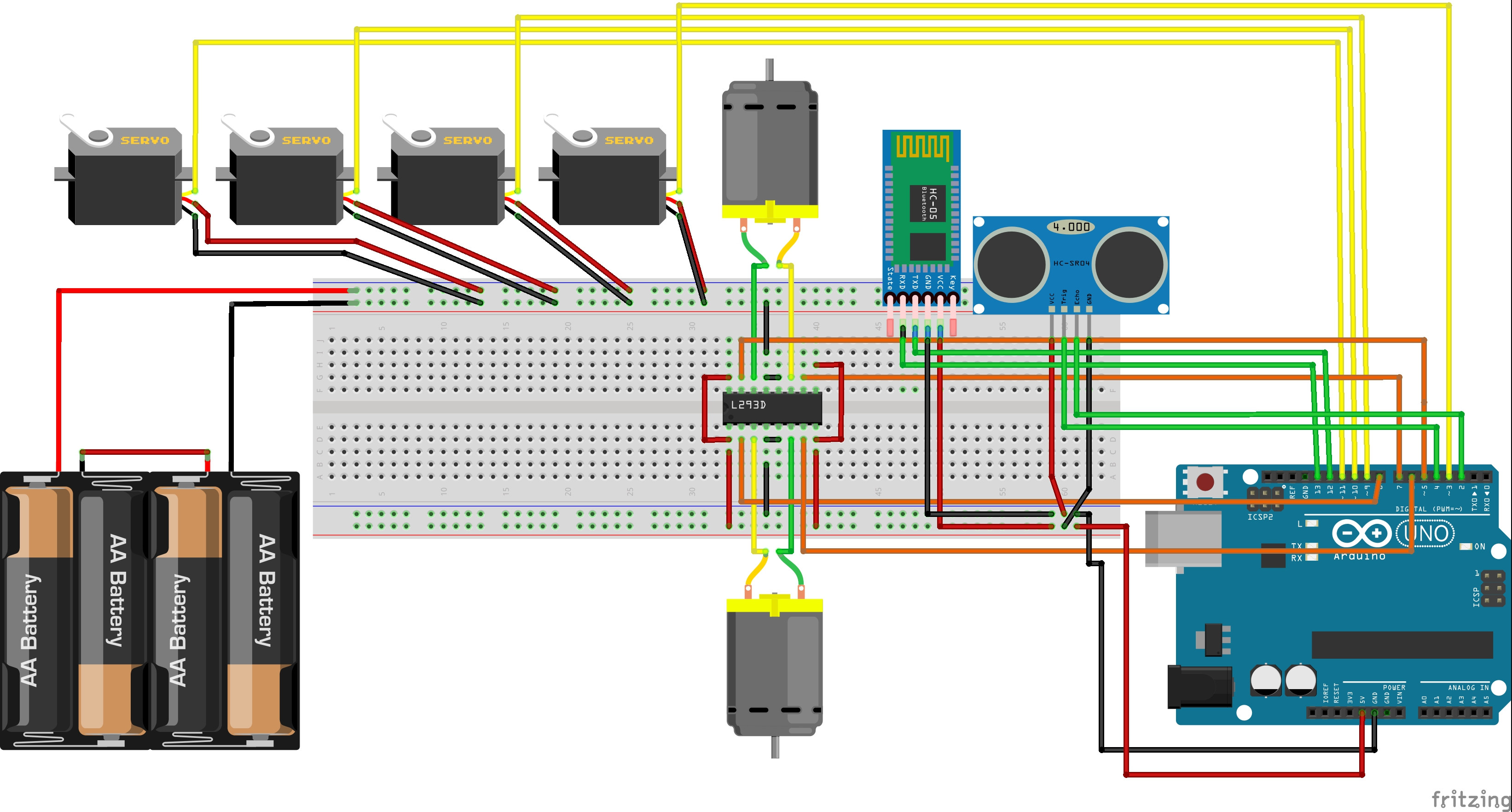 l293d motor driver circuit diagram tele wiring diagrams connecting 4 servos, 2 motors, hc-05, sr-04 and to arduino - stack exchange