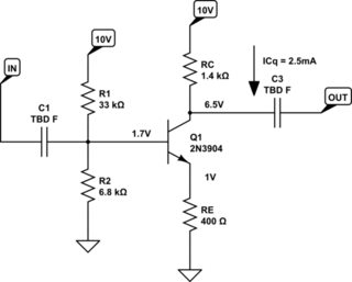 Adding negative feedback to a common-emitter transistor
