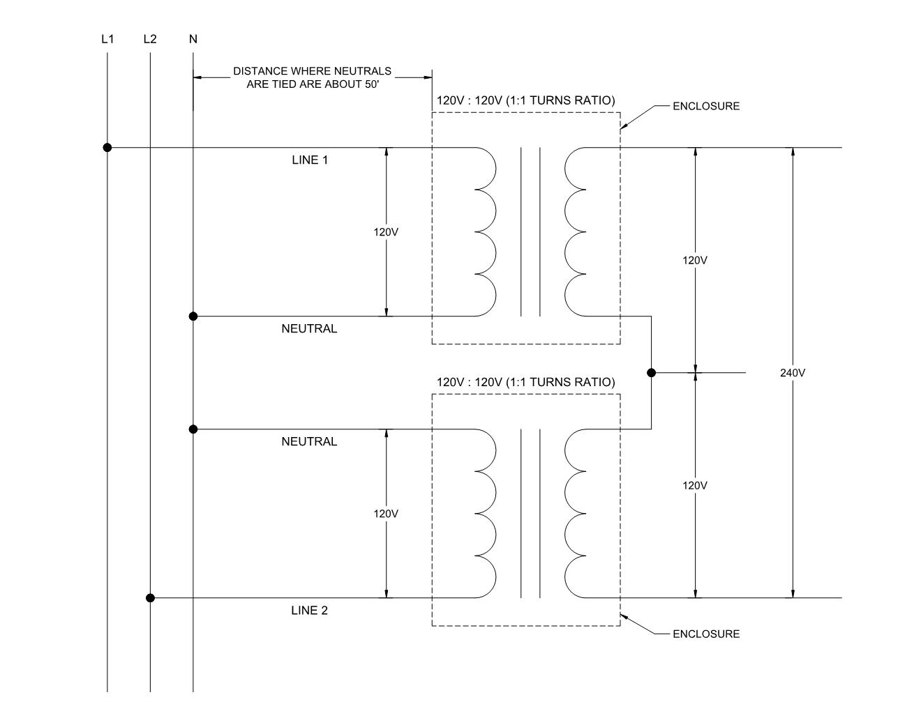 hight resolution of two 120v isolation transformers secondary tied primary isolated