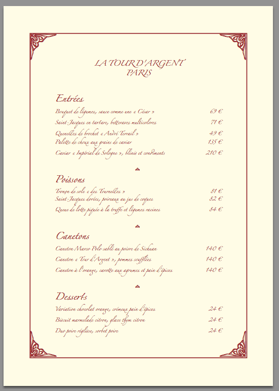 Packages Document Class For A Restaurant Menu TeX