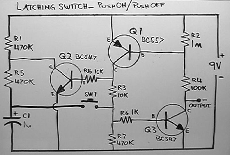 Circuit Schematic Of A Push On Push Off Dual Mosfet Latching Highside