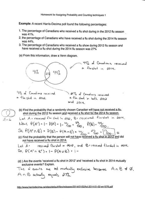 small resolution of probability and counting assignment